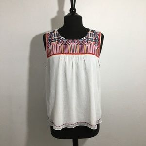 Skies Are Blue Embroidered Sleeveless Top Sz L EUC